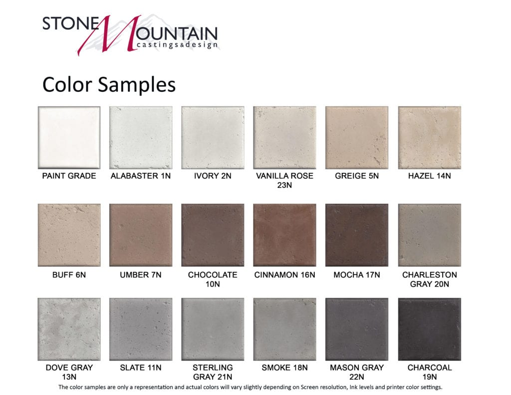 Colors and Color Names - Stone Mountain Castings and Design